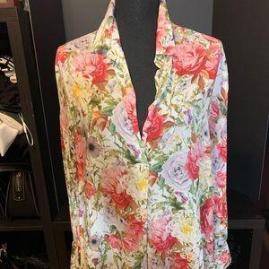 ZARA Floral Blouse- Large. NWOT